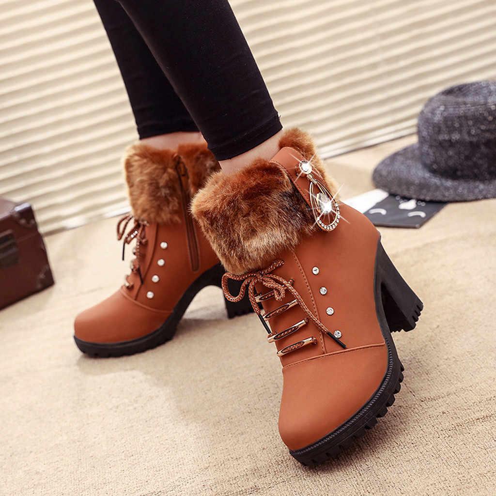 ผู้หญิงรองเท้าผู้หญิงรองเท้าผู้หญิงหนาข้อเท้ารองเท้าบูทรองเท้าผู้หญิงรองเท้าส้นสูงรองเท้า Snow boots รองเท้าสบายๆโรมัน #917