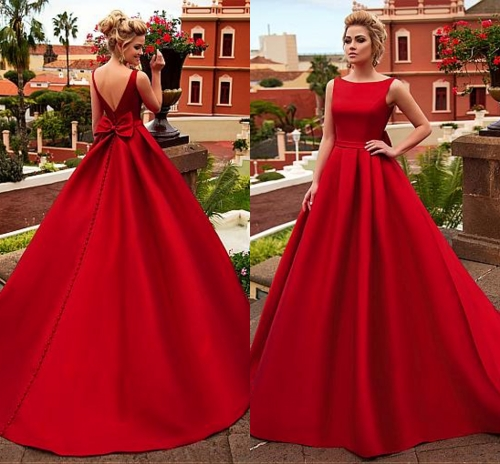 2020 Chic Satin Bateau Neck A-line Dark Red Wedding Dress With Belt Bowknot Court Train Bridal Gowns Vestidos De Novia Customed