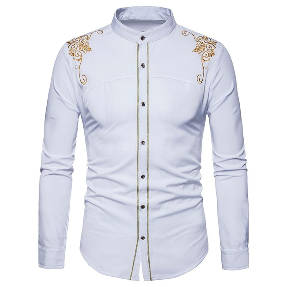 Men Fashion Embroidery Flower Button Stand Collar Long Sleeve Shirt Blouse Top