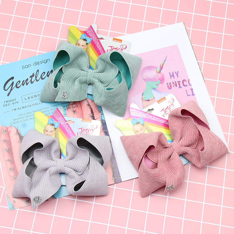 8Pcs/lot 7'' Jojo Siwa Bows Large Velvet Hair Bows for Girls Hair Clips Handmade Corduroy Hairgrips Party Kids Hair Accessories