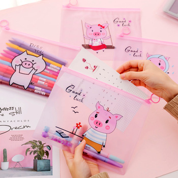 Pink Pig Transparent Scrub Cosmetic Bags Travel Makeup Case Ladies Make Up Organizer Storage Bags Pouch Toiletry Women Wash Kit image