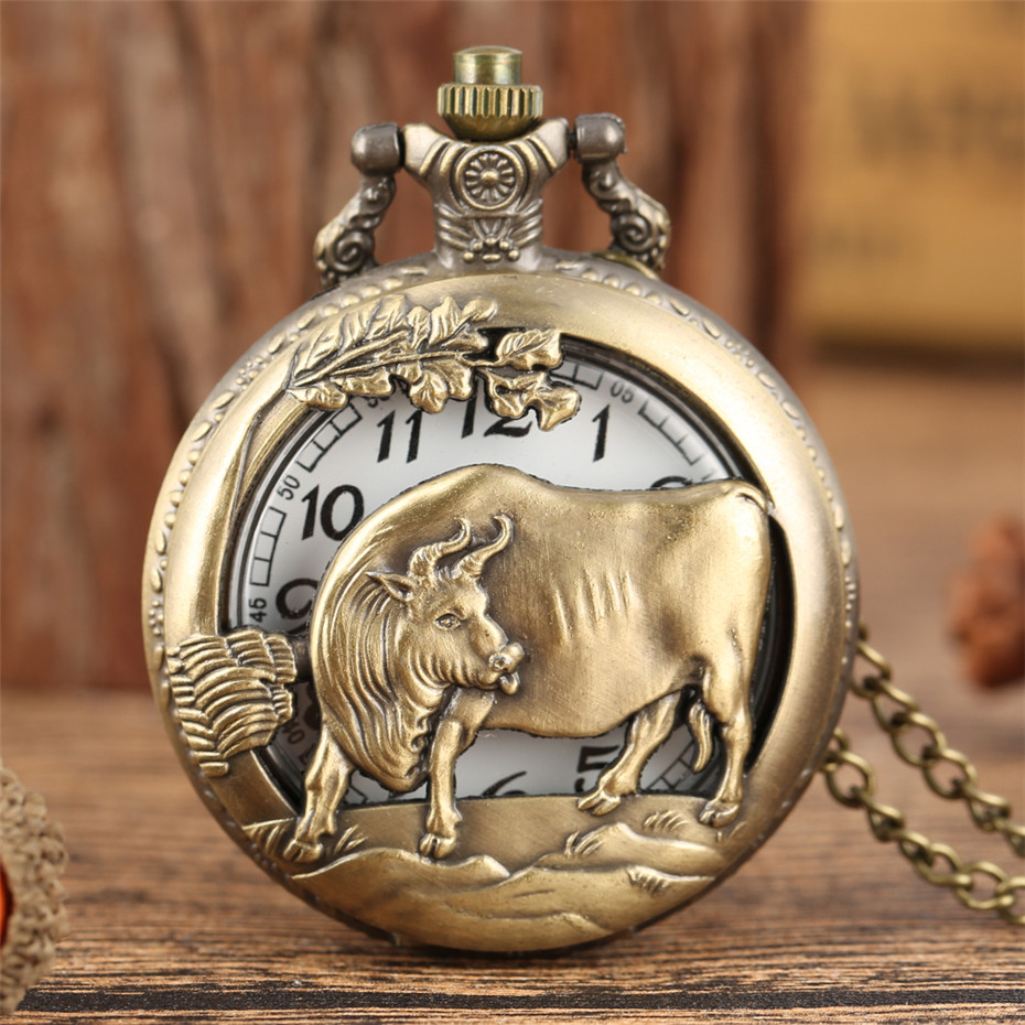 Antique Bronze Zodiac Ox Design Quartz Pocket Watch Fob Necklace/Pocket Chain Collection Clock Gifts Unisex