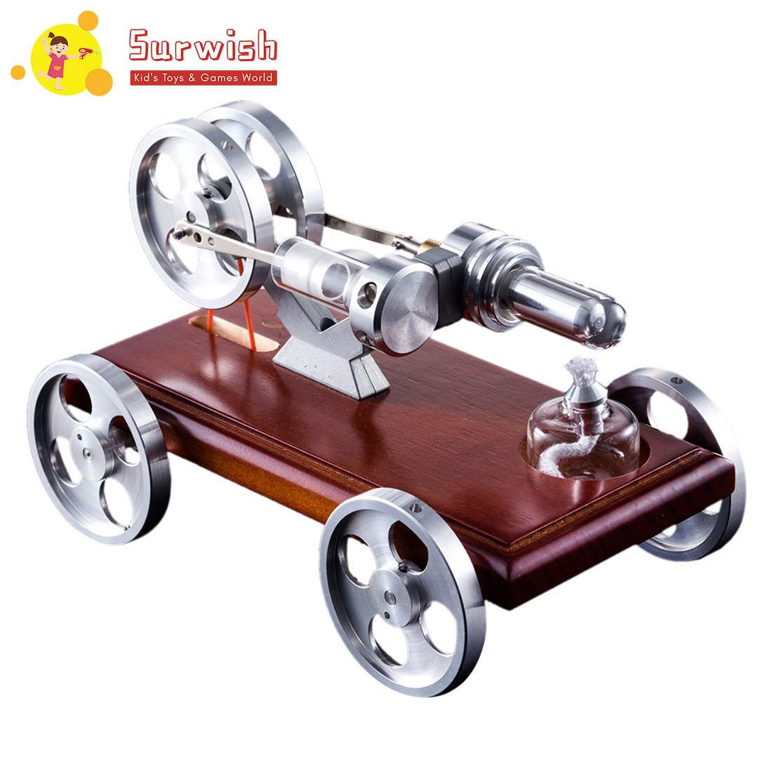 Solid Wood Baseplate DIY Stirling Engine Car Stem Steam Model Set