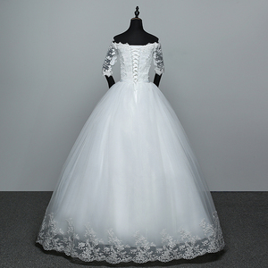 Image 2 - أنيقة قارب الرقبة نصف كم الدانتيل 2020 فستان زفاف جديد زين منظور مخصص حجم كبير ثوب زفاف Casamento L