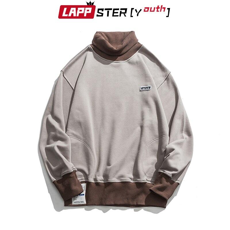 LAPPSTER-Youth Men Turtleneck Hoodies 2020 Mens Color Bock Streetwear Sweatshirts Male Korean Fashions Hip Hop Loose Hoodies 2