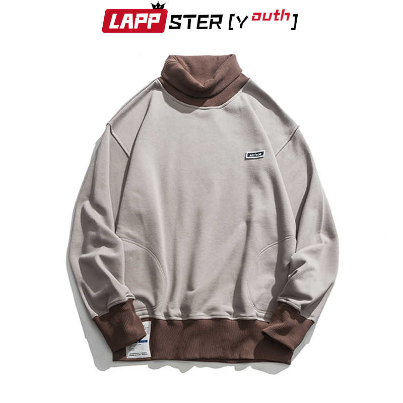 LAPPSTER-Youth Men 터틀넥 후드 2020 Mens Color Bock Streetwear 스웨터 남성 한국 패션 힙합 루스 후드