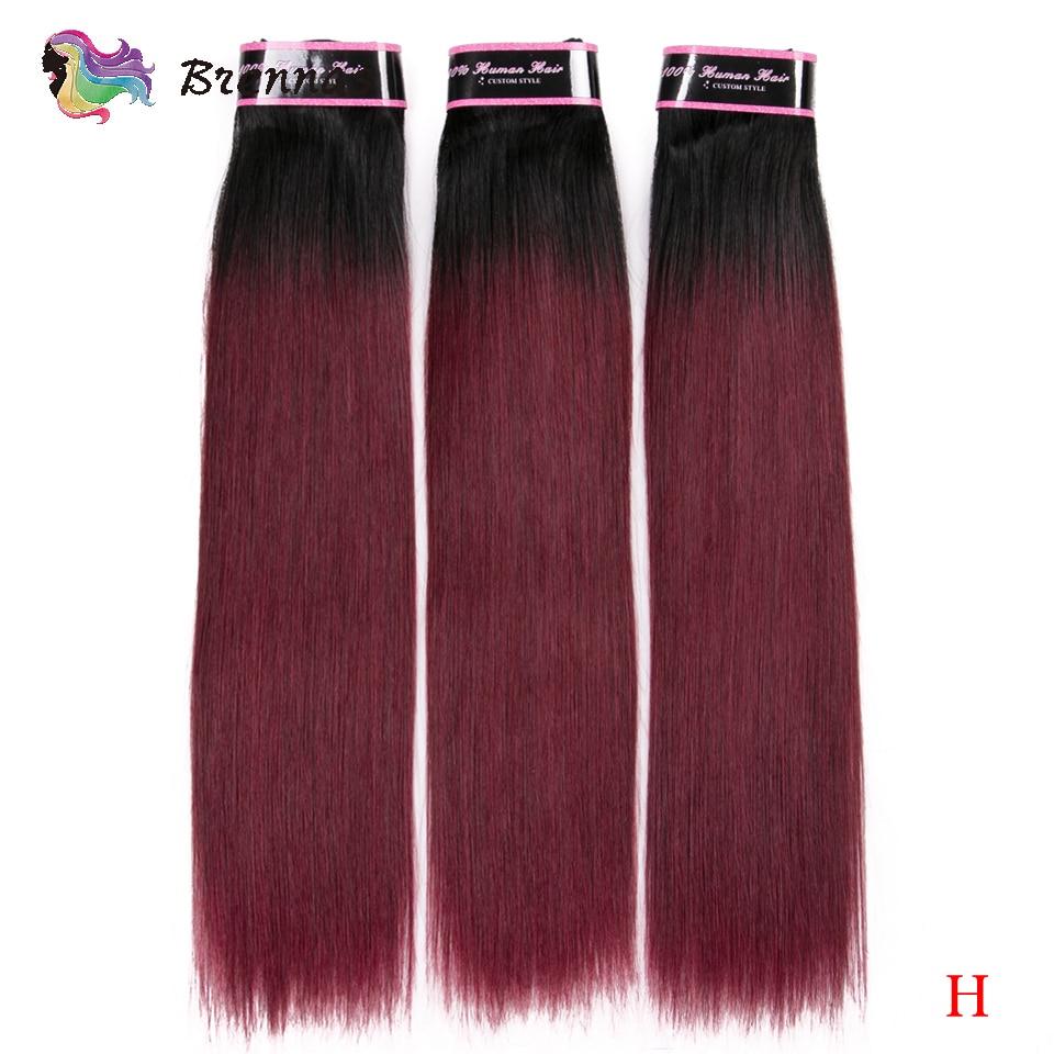 Brennas Double Drawn Funmi Straight Hair Bundles 100% Brazilian Human Hair Weave Ombre 1b 99J Non-Remy Hair High Ratio For Women