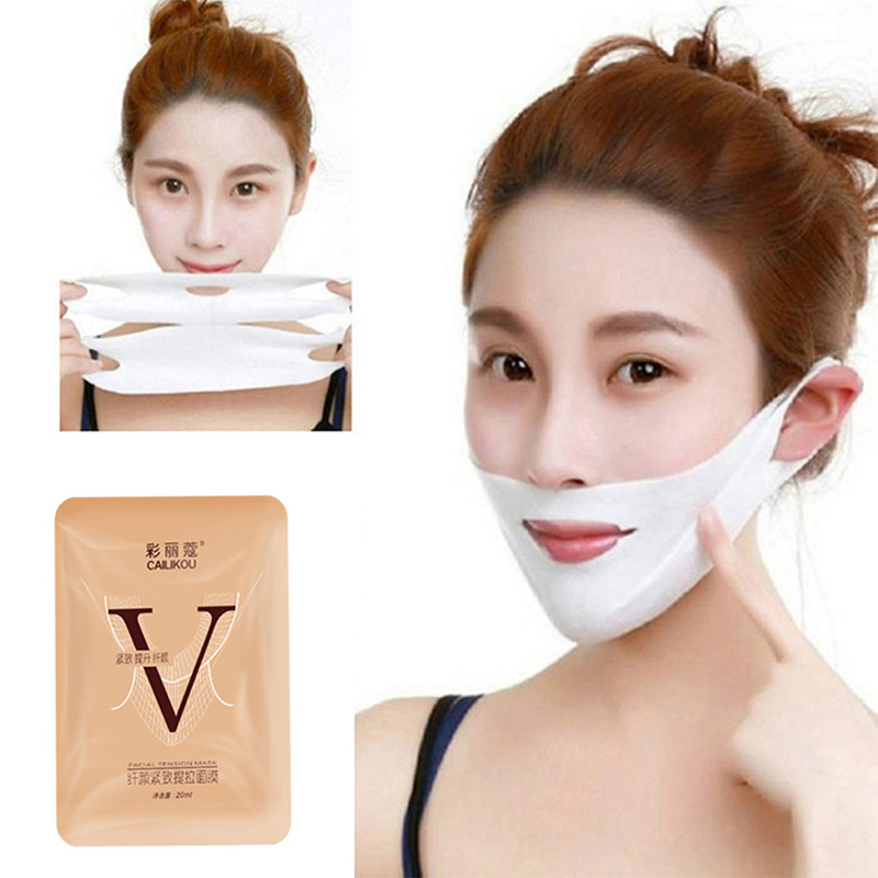 1PC Double V Face Shape Tension Firming Mask Paper Slimming Eliminate Edema Lifting Firming Thin Masseter Face Care Tool TSLM1