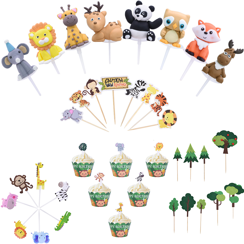 Jungle Theme Cake Topper Cartoon Animals Cakes Wrapper Elephant Monkey Felt Tree Cupcake Topper For Kids Birthday Party Supplies