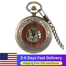 US Local 3-6 Days Fast Delivery Vintage Skeleton Dial Wood Mechanical Pocket Watch Roman Numerals Carving Wooden Watches Chain antique skeleton hand wind mechanical pocket fob watch gift box full hunter blue roman numerals dial mechanical pocket watches