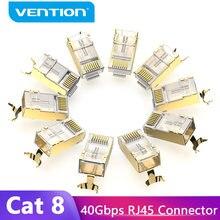 Vention Conector RJ45 Cat8 RJ45 8P8C Modular Ethernet Gato Cabo FTP Plug Cabeça Banhado A Ouro Crimp Rede RJ45 8 Connerctor cat8