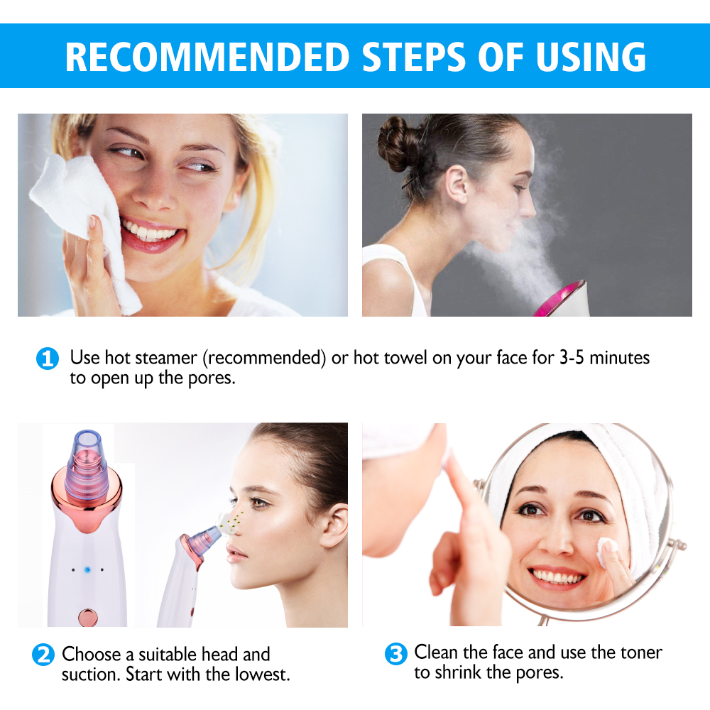 Blackhead Remover Facial Nose Cleaner T Zone Deep Pore Acne Pimple Removal Vacuum Suction Cleanser Beauty