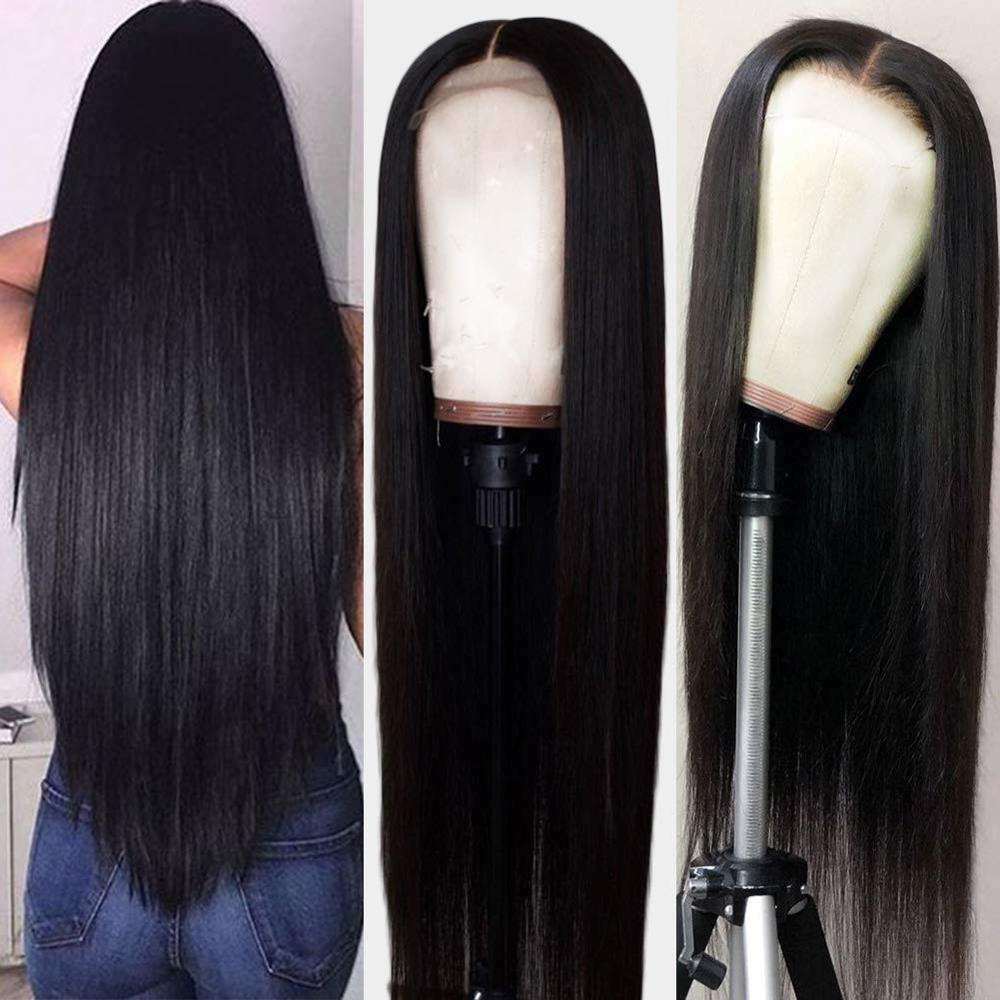 Silk Top Swiss Lace Front Wig Straight Human Hair Natural Black Glueless Wig Silky Long Large Average Cap Wig With Baby Hair
