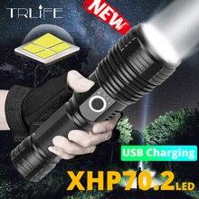 XLamp XHP70.2 사냥 가장 강력한 LED 손전등 충전식 USB 토치 xhp50 18650 또는 26650 캠프 램프 방수 자기 방어
