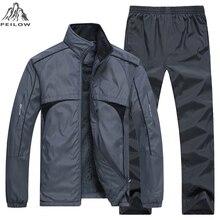New Man Set winter thick warm Mens Sportswear 2 Piece Sets Sports Suit Jacket+Pant joggers Sweatsuit Male Tracksuit size L~5XL