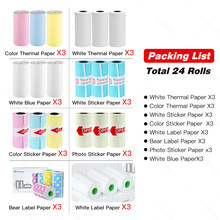Peripage A6 Paper 58mm Label Sticker Notes Color Photo Printer Paper Labels Peripage A6 Printers Papers roll Color Sticker Paper