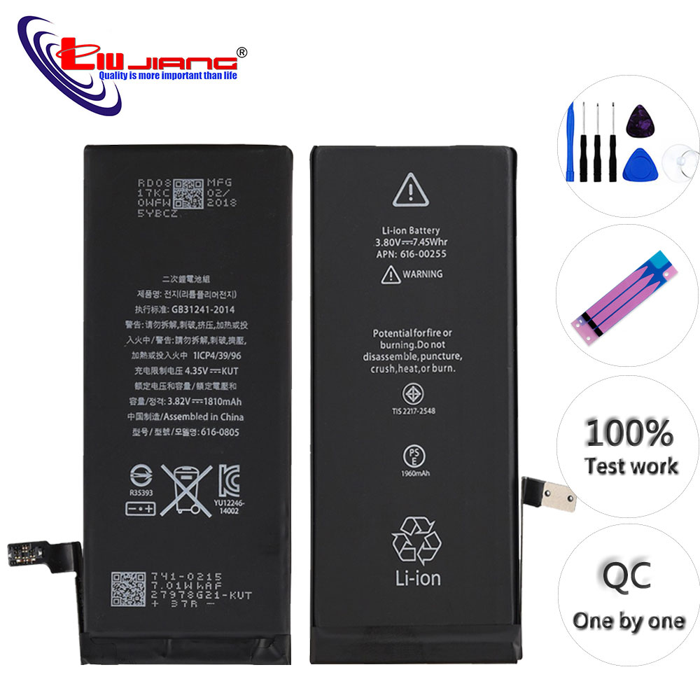2pcs <font><b>Battery</b></font> For <font><b>iPhone</b></font> 5 5s SE 6 <font><b>6s</b></font> <font><b>Battery</b></font> Replacement <font><b>Batteries</b></font> Internal Phone 1810mAh 1715mAh + Free Tools image