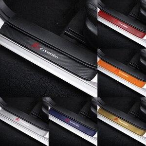 4 шт. автомобильные 3D наклейки из углеродного волокна с защитой от царапин пороговой педали двери для citroen C1 C3 C4 C4L C5 C6 VTS C-ELYSEE