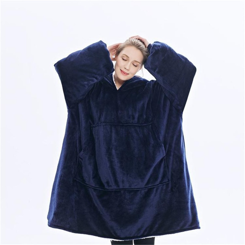 Warm thick TV Hooded Sweater Blanket Unisex Giant Pocket Adult and Children Fleece Weighted Blankets for Beds Travel home-1