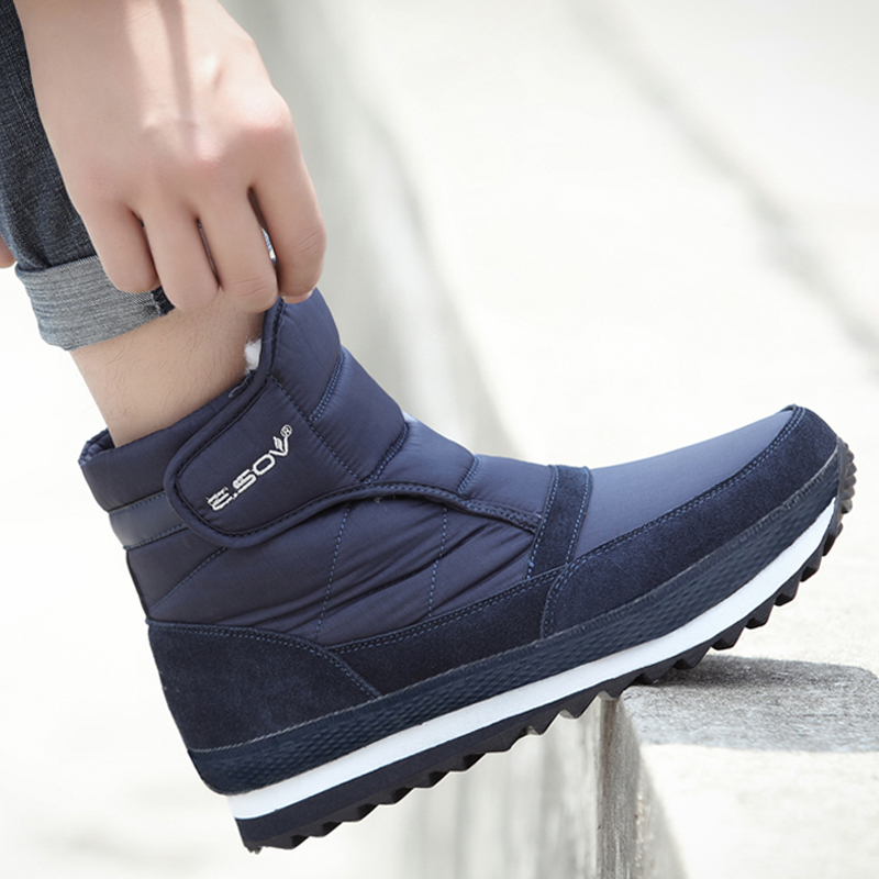 Men Boots 2019 Winter Shoes Men Ankle Boots Waterproof Non-slip Warm Plush Flat Men Snow Boots Big Size 39 - 45