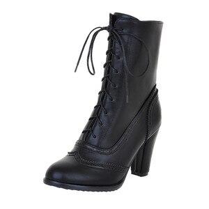 Image 1 - נשים מגפיים סקסי שרוכים מגפי גבירותיי קלאסי מחודדת עור שרוכים עקב מגפי אמצע צינור מגפי כיכר העקב נעליים