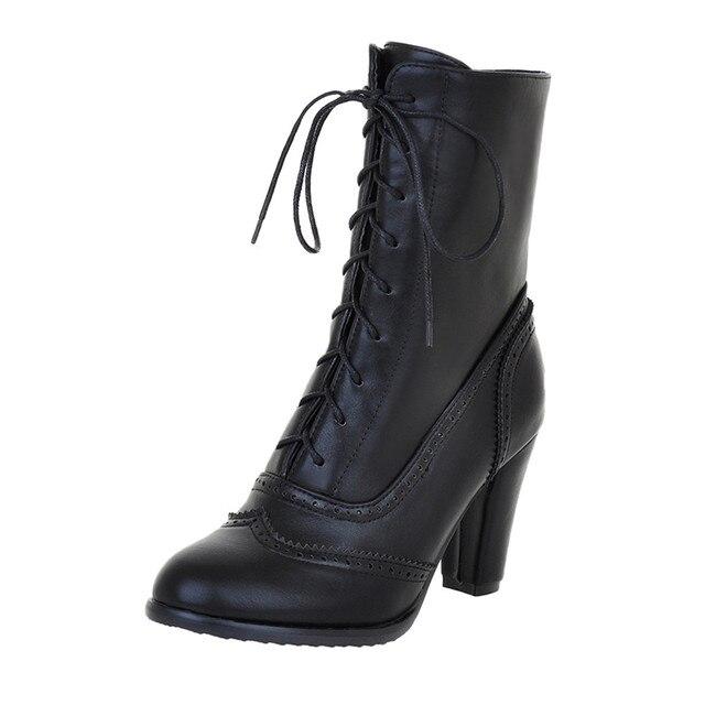 נשים מגפיים סקסי שרוכים מגפי גבירותיי קלאסי מחודדת עור שרוכים עקב מגפי אמצע צינור מגפי כיכר העקב נעליים