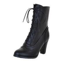 Buty damskie seksowne sznurowane buty damskie klasyczne szpiczaste skórzane sznurowane buty na obcasie buty środkowe buty na kwadratowym obcasie