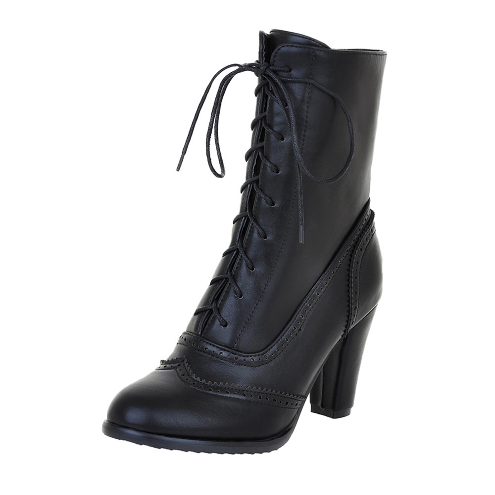 Women Boots Sexy Lace up Boots Ladies Classic Pointed Leather Lace Up High Heeled Boots Middle Tube Boots Square Heel ShoesAnkle Boots   -