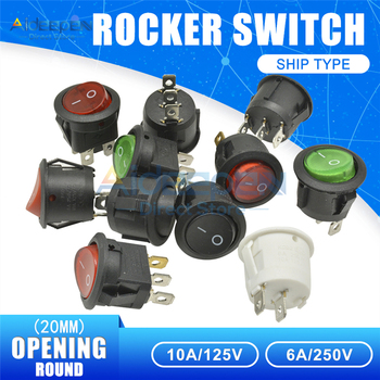 20mm AC 10A/125V 6A/250V Round Boat Rocker Switch 2 Files 2/3/4 Copper Feet On/Off Switch With Waterproof Cap LED Light image