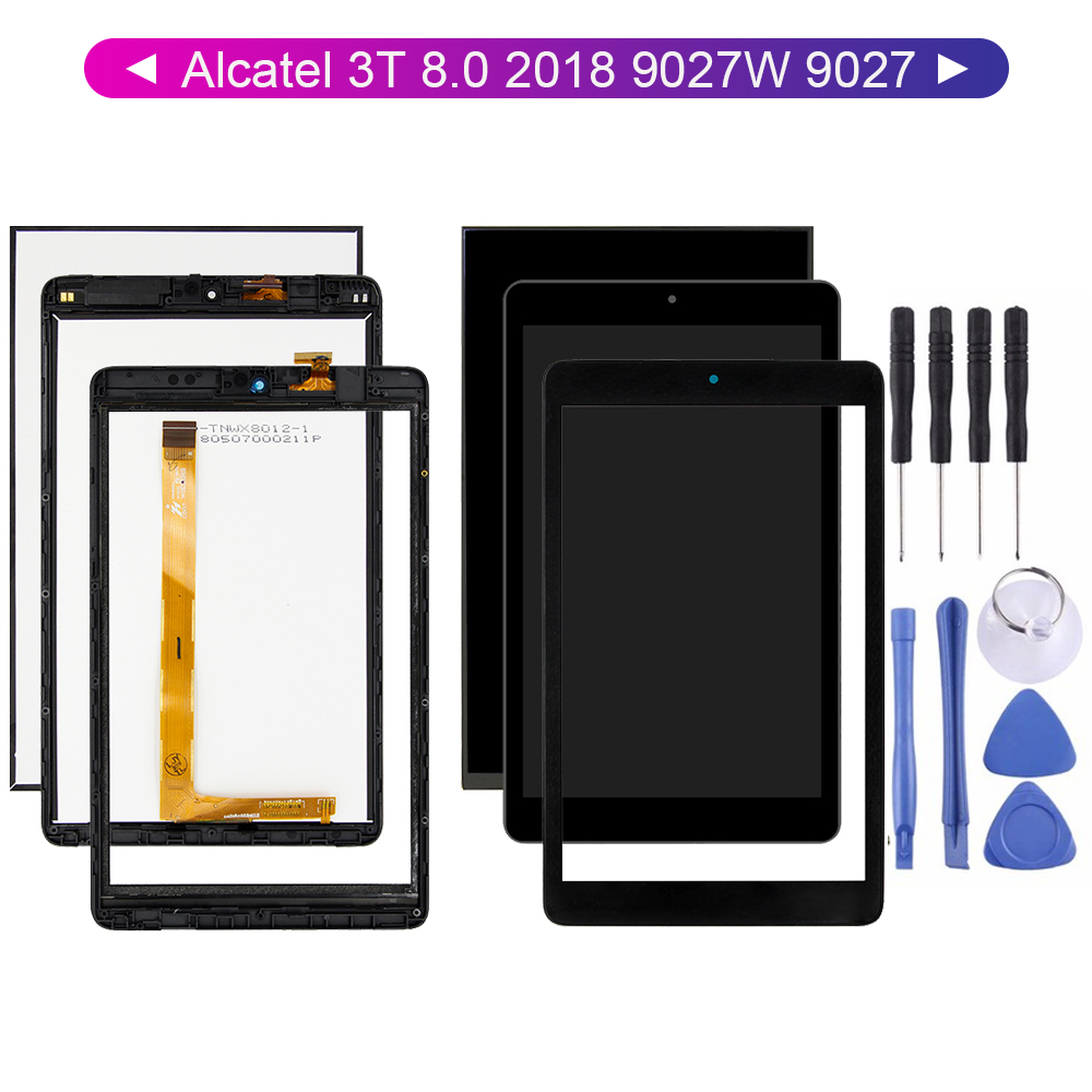 For Alcatel 3T 8.0 2018 9027W 9027 LCD Display + Touch Screen Digitizer Glass Sensor With Free Tools