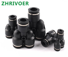 Black 3 Way Port Y Shape Air Pneumatic OD Hose Tube Push in Gas Plastic Pipe Fitting Connectors Quick Fittings PY 4mm to 16mm