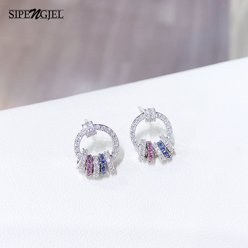 Fashion silver color Simple small Round Stud Earrings Geometric Circle rainbow Stud Earrings For Women Korean Jewelry 2021