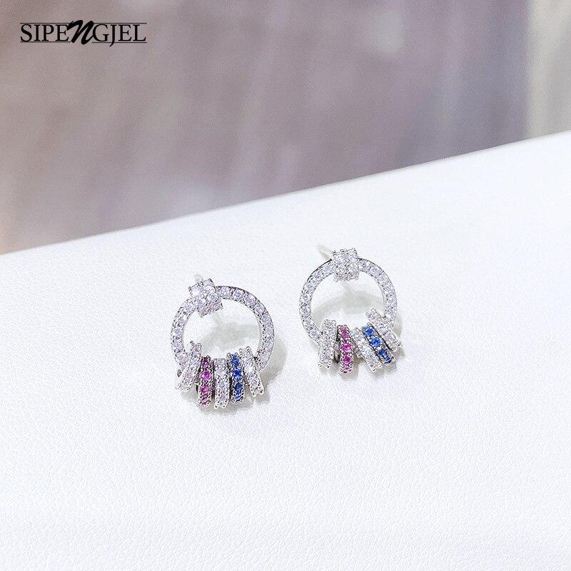 Модные простые маленькие круглые серьги-гвоздики серебристого цвета, геометрические круглые радужные серьги-гвоздики для женщин, корейски...