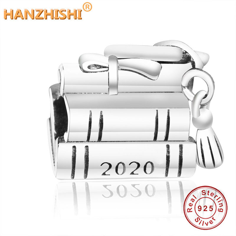 2019 Graduation New 925 sterling silver GRADUATION CAP, BOOK & SCROLL CHARM Fit Original Fine Charm Bracelet DIY Bead Pendant(China)