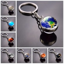 Solar System Keychain Moon Jupiter Earth Saturn Mars Mercury Venus Neptune Double Side Glass Ball Keyring Planet Keychain(China)