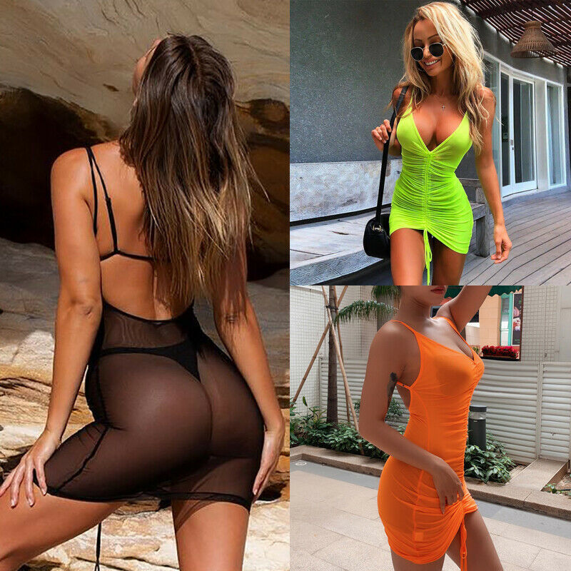 Layers Mesh Summer Dress 2019 Women Spaghetti Backless Straps Bodycon Ruched Dress Woman Party Night Club Dress Sexy Robe