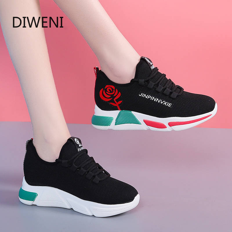 DIWEINI 2020 Spring New Women Casual Shoes Fashion Breathable Lightweight Walking Mesh Lace Up Flat Shoes Sneakers Women