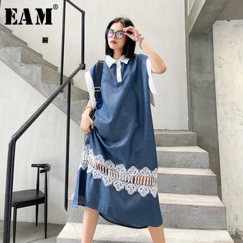 [EAM] Women Blue Lace Split Joint Long Big Size Dress New Lapel Sleeveless Loose Fit Fashion Tide Spring Summer 2020 1W361