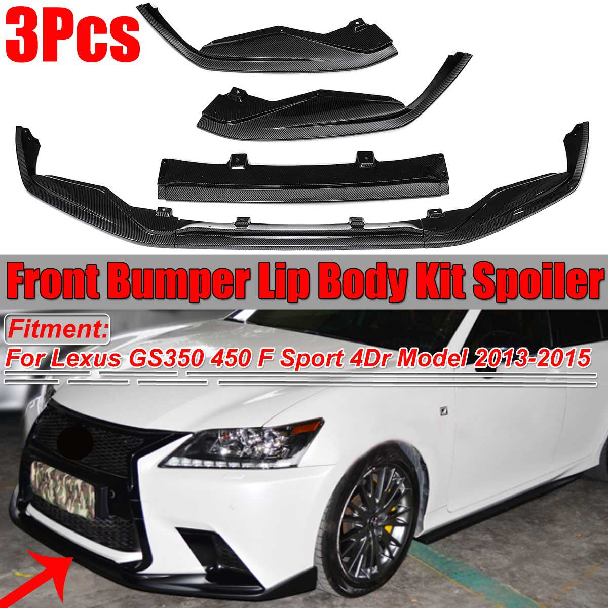 Carbon Fiber Look Car Front Bumper Lip Splitter Spoiler Cover Diffuser Trim For Lexus GS350 450 F Sport 4Dr Model 2013 2014 2015 title=