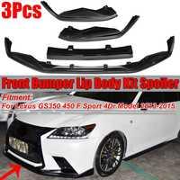 Carbon Fiber Look Car Front Bumper Lip Splitter Spoiler Cover Diffuser Trim For Lexus GS350 450 F Sport 4Dr Model 2013 2014 2015