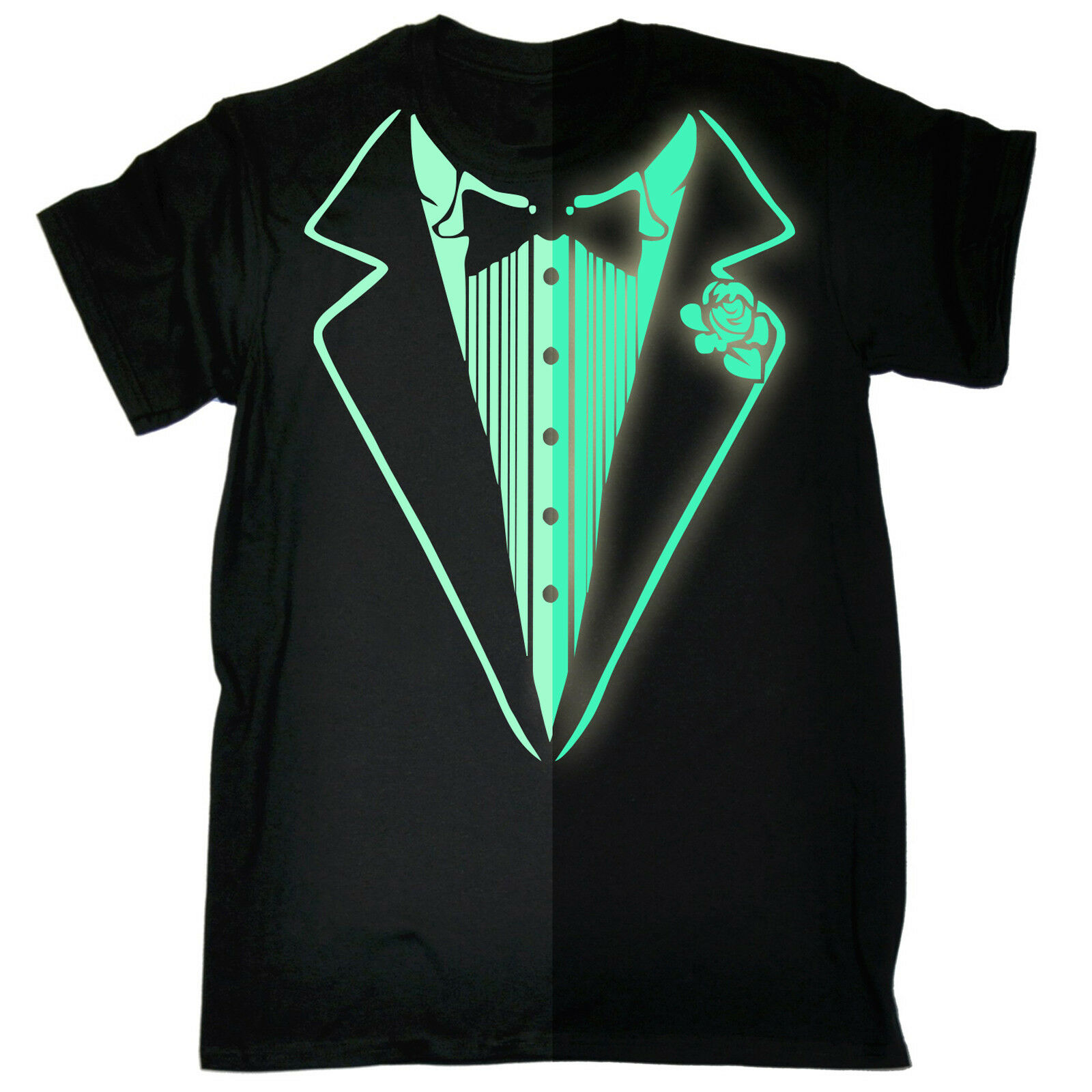 Glow In The Dark Tuxedo MENS T-SHIRT birthday costume fancy dress funny gift