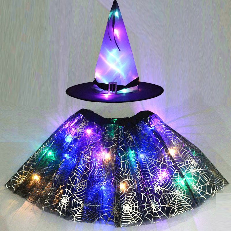 Party Kids Girl LED Glow Light Witch Hat Spider Web Cobweb Skirt Halloween Christmas Costume Cosplay Cat Animal Ears Fancy Dress