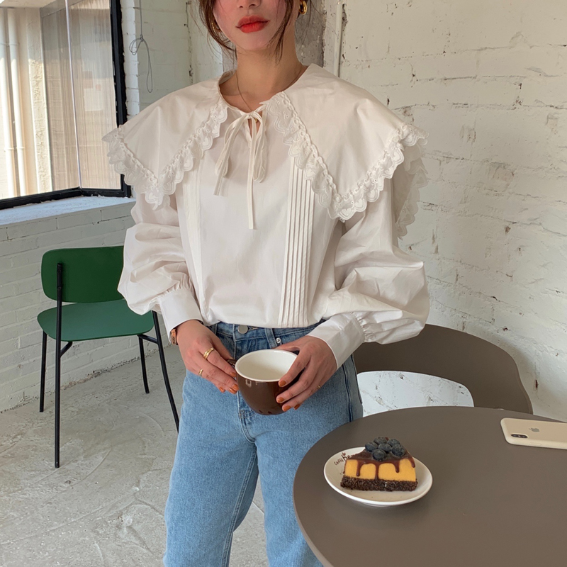 H7e6a44736447414da9e4a1844ea50b067 - Spring / Autumn Lace-Up Collar Long Sleeves Loose pleated Solid Blouse