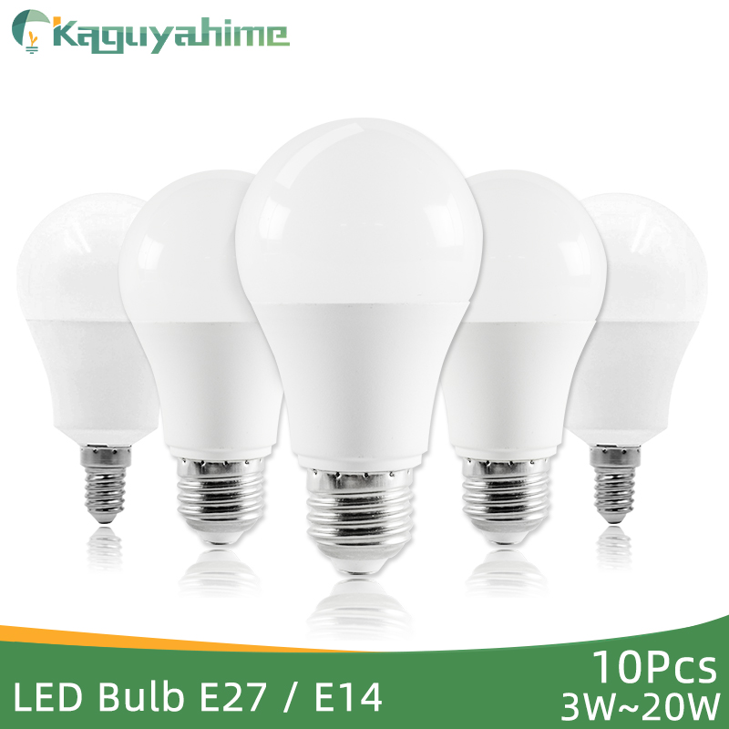 Kaguyahime 10Pcs LED E27 LED Light E14 LED Bulb 220V 240V 20W 15W 12W 9W 6W 3W LED Spotlight Lamp Bombilla Lighting Lampada