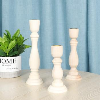 Vintage Wooden Candlestick Wedding Wooden Candle Holder Wedding Candlestick Pillar Candle Holders Wedding Home Decor 1