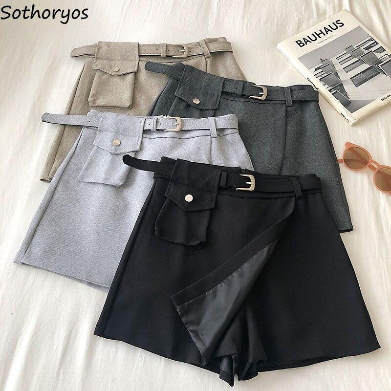 Shorts Skirts Women Summer Sashes Zipper Pocket Vintage Asymmetrical A-line Leisure Fashion Ladies Wide-leg Simple Elegant Chic