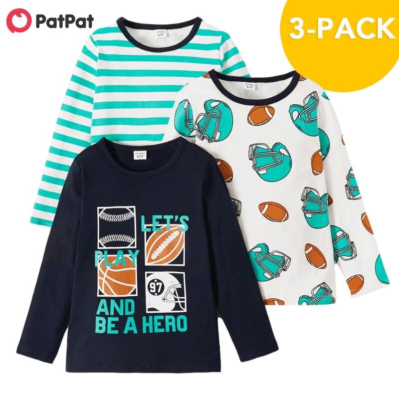Новое поступление, осенние и Весенние футболки PatPat из 3 частей, длинные футболки с принтом из сплава, детская одежда|Футболки| | АлиЭкспресс