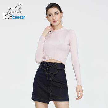 Icebear 2020 wiosna nowych kobiet w stylu basic Slim Slim jednolita krótka pulower z okrągłym dekoltem sweter AW-157 tanie i dobre opinie Poliester Polyester Komputery dzianiny Stałe Krótki V-neck Osób w wieku 18-35 lat Swetry Pełna REGULAR NONE STANDARD
