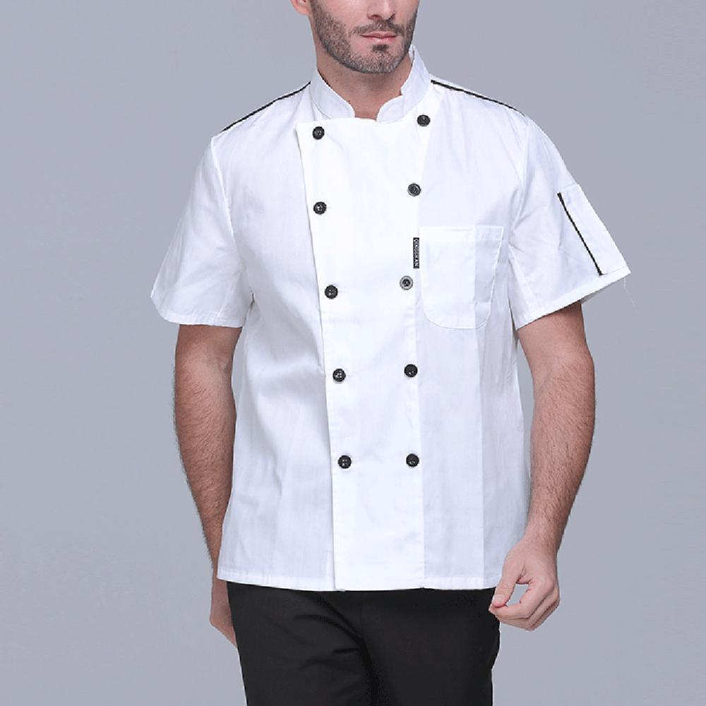 Unisex Short Sleeve Summer Chef Jacket Double-Breasted Restaurant Cook Uniform Food Service Coat Work Apparel With Pockets M-3XL