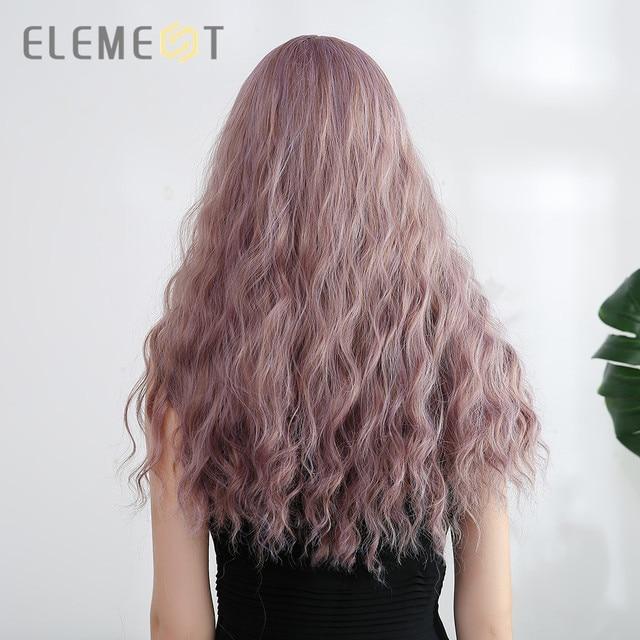 Perruque synthétique ondulée violette à frange Element   Perruque de fête de Cosplay américaine Lolita résistante à la chaleur pour femmes blanches/noires